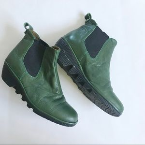 Fly London Leather Green Chelsea Boot Wedge